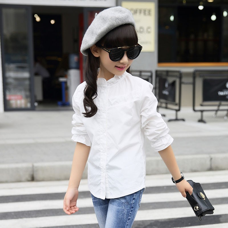 Thumbaby Girls Blouse for School White Kids School Lace Shirt Cotton Long Sleeve Bottoming Base Blouse Childrens Clothing