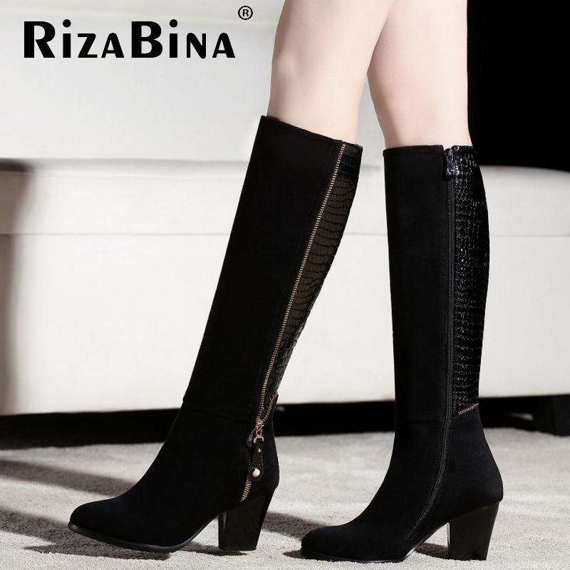 size 31-45 women real genuine leather high heel over knee boots zipper winter warm long boot quality sexy footwear shoes R8303<br><br>Aliexpress