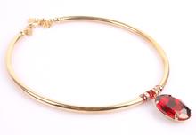 women choker necklaces glass crystal gold necklace pendant new fashion gem stone statement necklace jewelry chocker