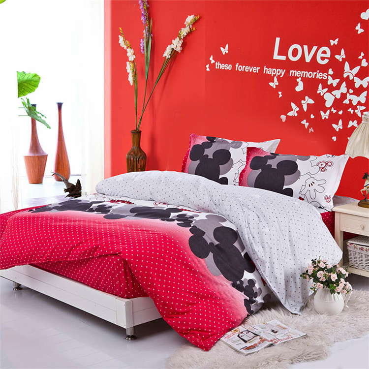 Free shipping, full queen king size mickey mouse bedding Mattress Cover style bedding set bedclothes bed linen duvet cover(China (Mainland))