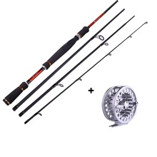 Fly Fishing Rod with Reel Combos Fishing Spinning 4 Sections Travel Fishing Tackle Pole Reel