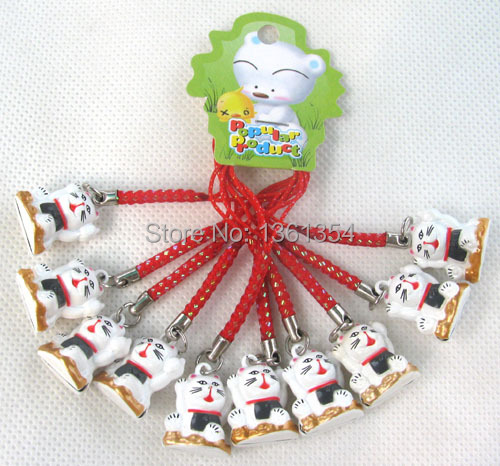 Freel Shipping New unique hot bell 100pcs hello kitty girl christmas bell cell phone charms Straps(China (Mainland))
