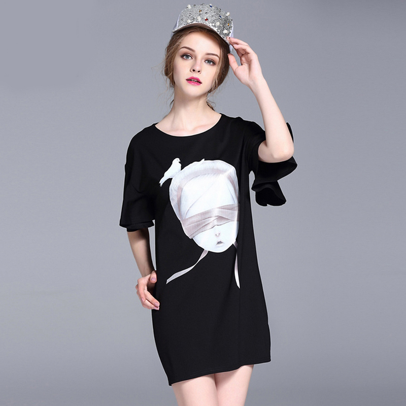 Summer dress woman fashion short sleeve slim fitted mini sexy dress Trumpet sleeves 2016 Real Photos High Quality party robe(China (Mainland))