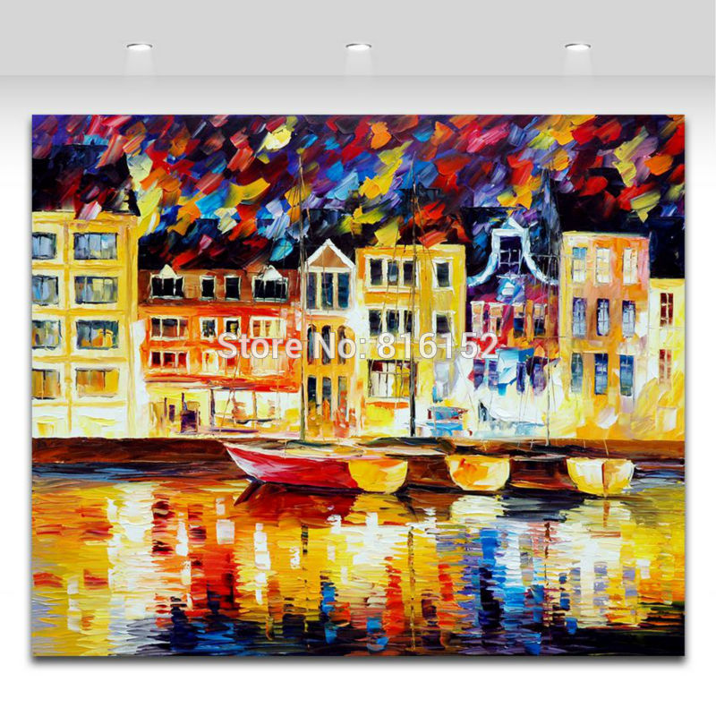 Buy 100% Hand Painted Palete Knife Modernism Western Style Architectures Canvas Oil Painting Home Decor Wall Art No Frame cheap