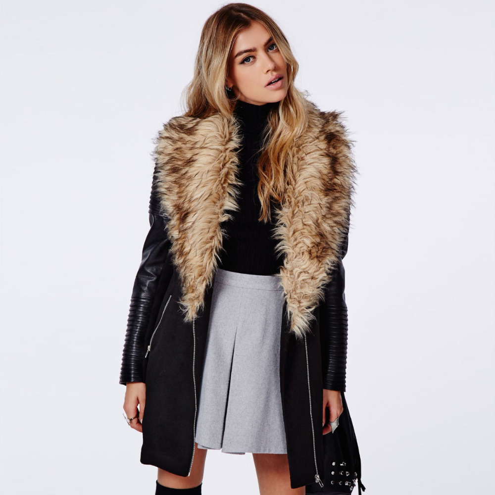 Faux fur collar coat women