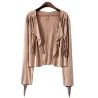 New Fashion Europe Female Tassel Fringed Suede Jacket Coat Top For Women 24