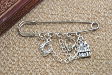 12pcs Rocky Horror Show inspired Brad and Janet themed charm with chain kilt pin brooch (50mm)