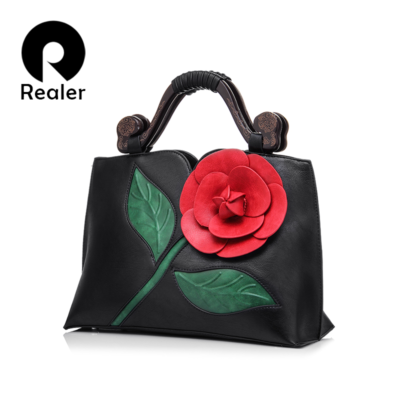REALER Brand Women Handbag With a Large Flower Summer New Design Female PU Leather Tote Bag Fashion Women Shoulder Bag(China (Mainland))
