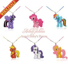 Lovely 1pcs Cartoon My Little Ponies Chains 2D Pendant Necklaces Rope Chain Chokers Necklace Travel Accessories Kid Party Gift(China (Mainland))