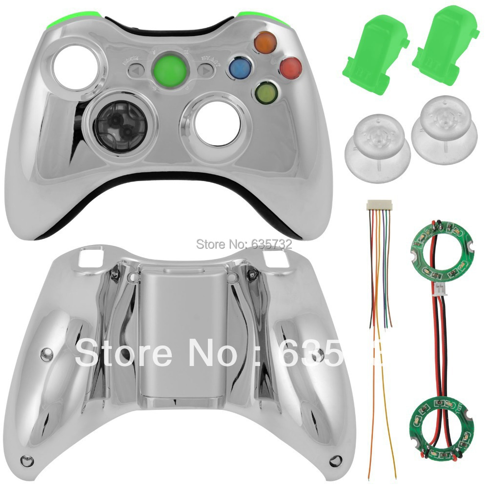 XCM Wireless Controller Shell LED with D Pad Auto Fire for Xbox 360 Chrome Green SHELL ONLY<br><br>Aliexpress
