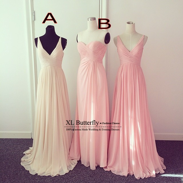 High quality maxi dress champagne pink bridesmaid for Champagne pink wedding dresses