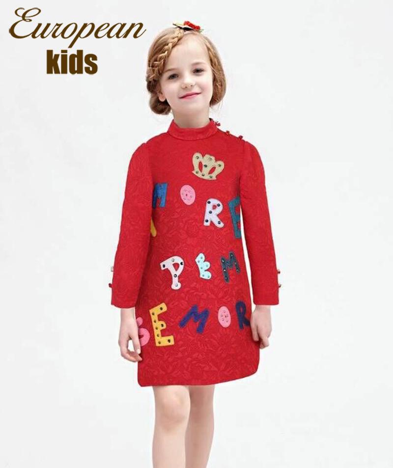 Girls Dresses Winter 2015 Letter Pattern Kids Dresses for Girls European Designer Princess Dress Brand Cotton Kids Girl Clothes(China (Mainland))