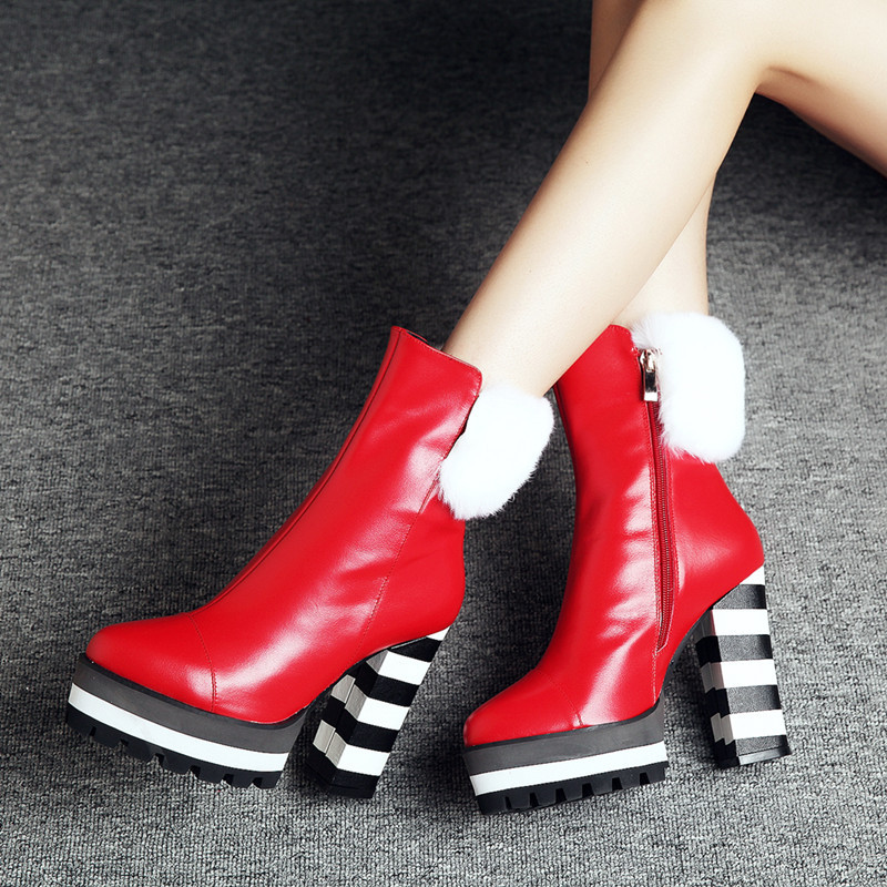 2016 winter keep warm thick high heels pointed toe ankle boots high quality genuine leather platform women boots<br><br>Aliexpress