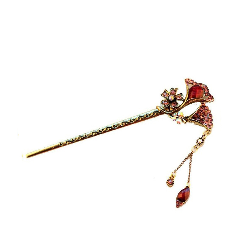 Vintage Curved Purple Hair Pins Women Pretty Hair Decoration Antique Hair Sticks Accessory Chinese Hair Clips Free Shipping(China (Mainland))