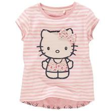Baby Girls Cartoon Hello Kitty T shirt Children Short Sleeve T-shirt Kids  Cotton Summer  Pink Clothes