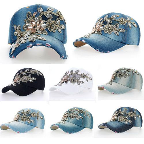 2014 New Top Design Adjustable Baseball cap Fashion Leisure Rhinestones Flowers Jean Snapback Baseball Hat Cap For Women B038(China (Mainland))