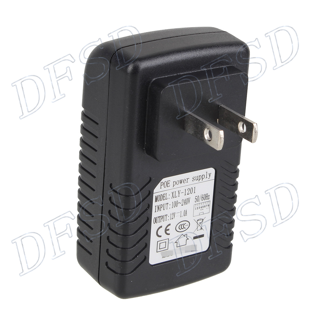 PoE Injector Ethernet Power Adapter 12V 1A Data in / Data Power Out Power Supply American Standard(China (Mainland))