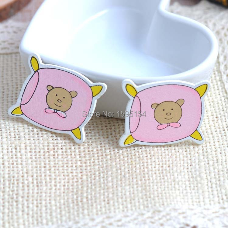 30pcs 35x30mm pink cartoon bear Baby bolster Wood decorative Buttons no Holes For Sewing Scrapbooking Crafts YF5410-4(China (Mainland))
