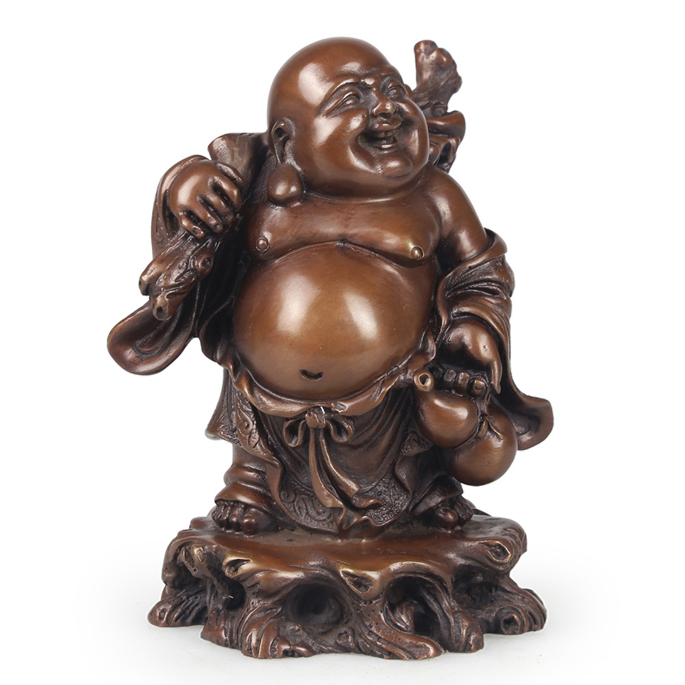 Brass statue of the Happy Laughing Buddha Lucky Wealth Symbol statue of Maitreya(China (Mainland))