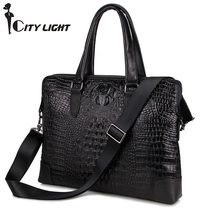 New arrival fashion men messenger bags Crocodile Pattern Genuine Cow Leather Unisex  Handbag Briefcase Laptop Bag(China (Mainland))