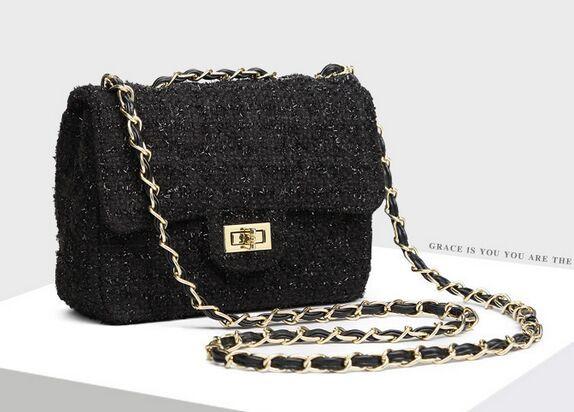 Черный золотой нитью смешанные шерстяные тканые цепи мешок, Высокое качество твидовые плеча сумку, Ретро классический мода мини-сумки