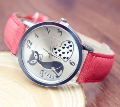 Hot sale fashion casual women dress watches ladies cute cat quartz watch men silver plated leather