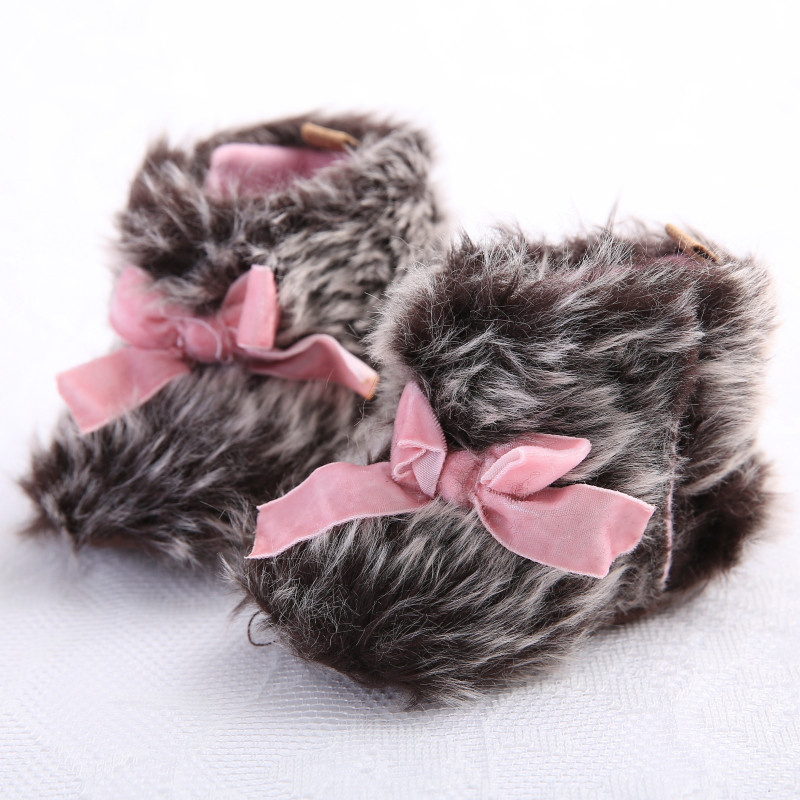 2015 Newborn Baby Girls Bowknot Shoes Soft Crib Shoes Toddler Infant Warm Fleece First Walker Baby Girls Shoes Winter
