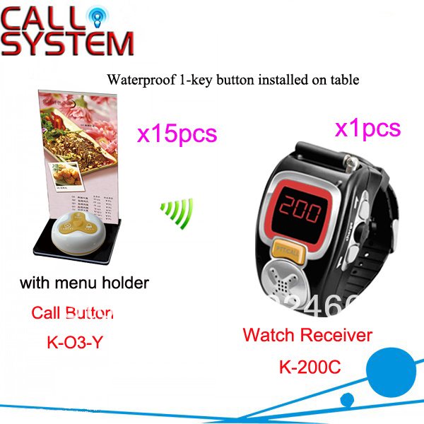 Waitress Paging System K-200C+O3-G+H for restaurant 15pcs call button with menu holder and 1pcs watch DHL free shipping(China (Mainland))