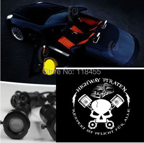 arrive skull crossbone Car Weclome Light projector Lens LED Door Lamp Ghost Shadow Laser Logo russia hot - wenwen's shop store