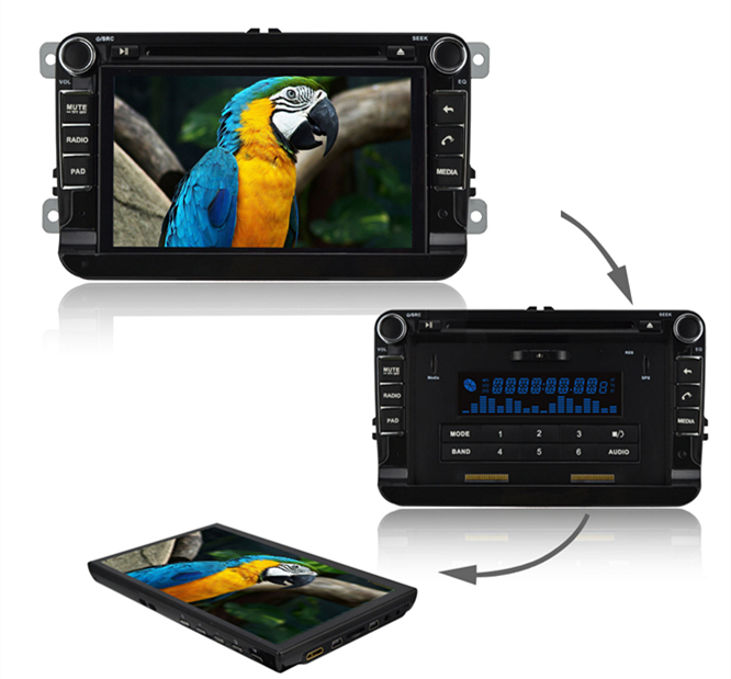 7 Inch 2din Indash special Car PC + GPS + dvd player with android 4.0.4 detachable tablet gps radio for Volkswagen(China (Mainland))
