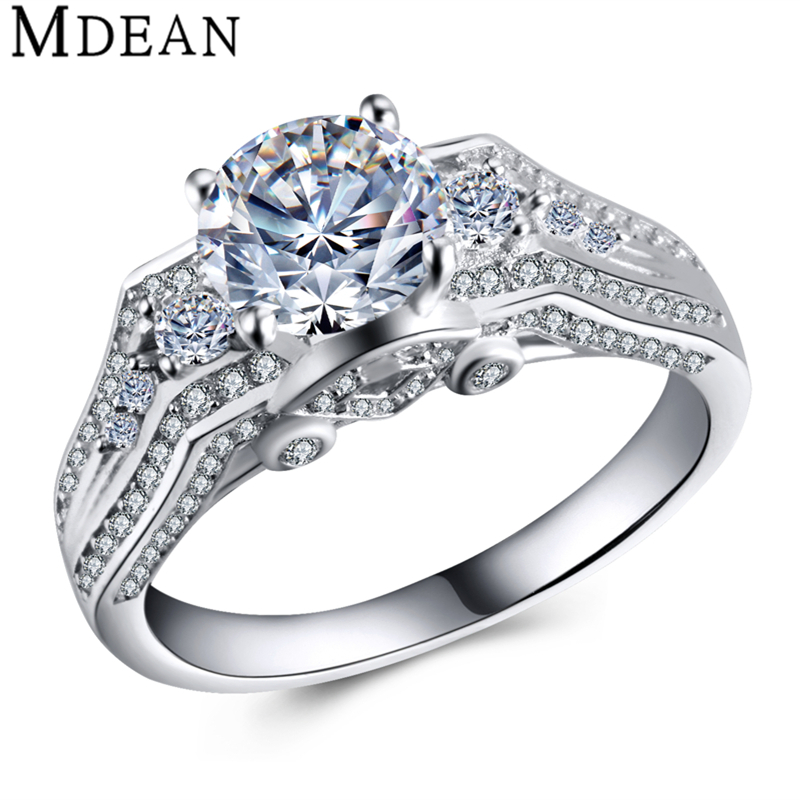 925 Sterling Silver Jewelry Genuine Pure 5 Gram Solid Round CZ Diamond Bague Engagement Rings for Women Bijoux Femme MSR456(China (Mainland))