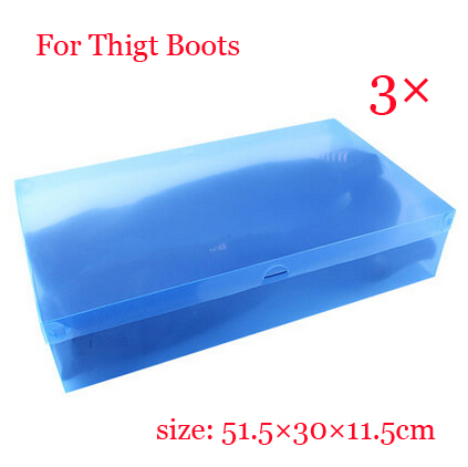 Free shipping 3 x Hot sale Clear Plastic Shoe Boot Box Stackable Foldable Storage Organizer Blue color(China (Mainland))