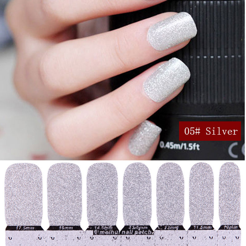 MIOBLET New 14pcs/set Nail Art Glitter Powder Stickers Manicure Decal Nail Tips Gold Silver Bright Powder Nail Stickers For Girl(China (Mainland))