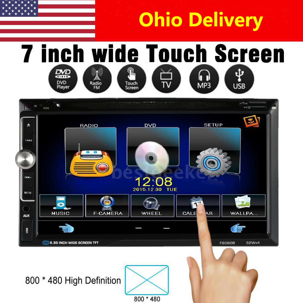 "7"" Universal 2 Din HD Car Stereo DVD Player Bluetooth USB/TF FM Aux Input Radio Entertainment Multimedia(China (Mainland))"