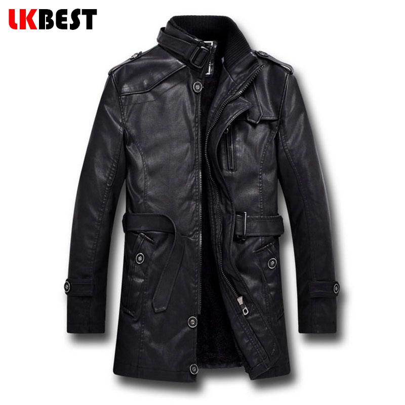 LKBEST 2016 New men leather jacket long PU pilot winter jacket BLACK wool liner Men's Motorcycle jacket brand-clothing (PY11)(China (Mainland))
