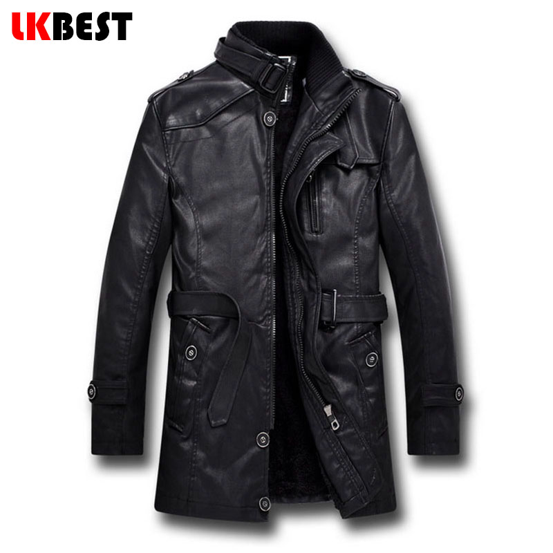 LKBEST 2017 New men leather jacket long PU pilot winter jacket BLACK wool liner Men's Motorcycle jacket brand-clothing (PY11)(China (Mainland))