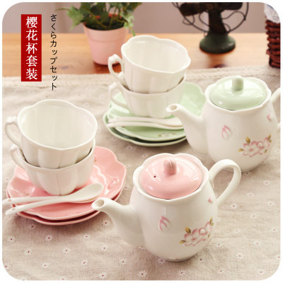 Japanese Ceramic Tea Cups Teapot Coffee Cup Set Green Pink Sakura Coffee Mug Set With Tray