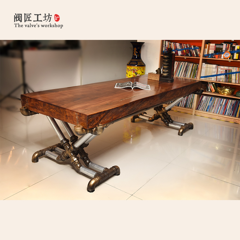 Industrial Wood Old Wrought Iron Tables Vintage Pine Desk Table Office