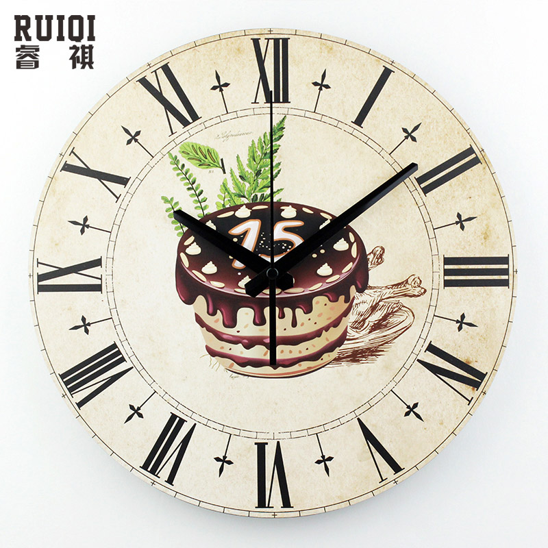 Kitchen decorative wall clock roman numerals large size for Living room wall clocks