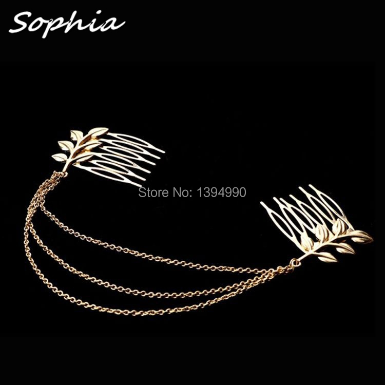 Alloy Leaf Leaves Grecian Garland Forehead hair combs Gold Olive Branch Accessories(China (Mainland))