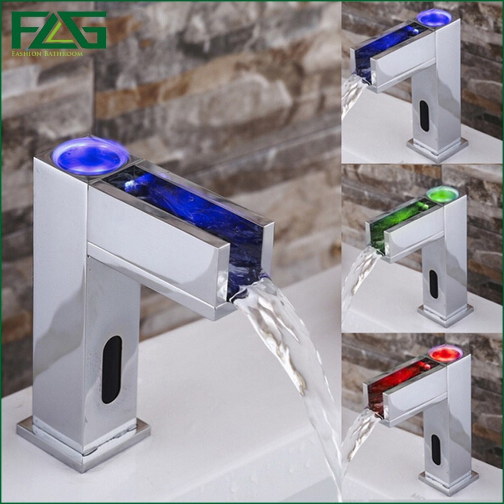 FLG Water Saving Led Faucet Light 3 Colors Change Led Automatic Bathroom Basin Faucet Waterfall Sensor Grifo Luz Led Faucet T18(China (Mainland))