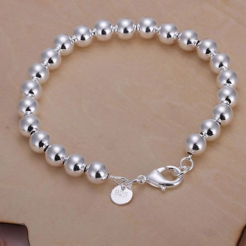 Free Shipping 925 Sterling Silver Jewelry Bracelet Fine Fashion 8MM Rosary Hollow Ball Bracelet Bangle Top Quality SMTH126-2(China (Mainland))