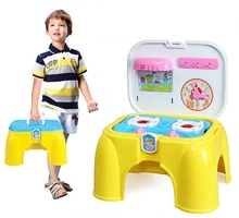 Portable Stool Kitchen Play Set with Light and Sound Cooking Pretend Play With Accessories For Kids(China (Mainland))