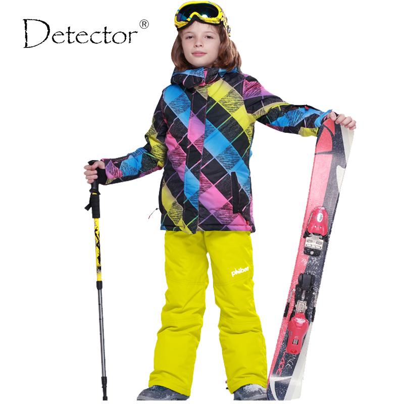 Detector Boys Ski Jacket Children Waterproof Windproof Clothing Kids Ski Set Winter Warm Snowboard Outdoor Ski Suit Boys Ski Set(China (Mainland))