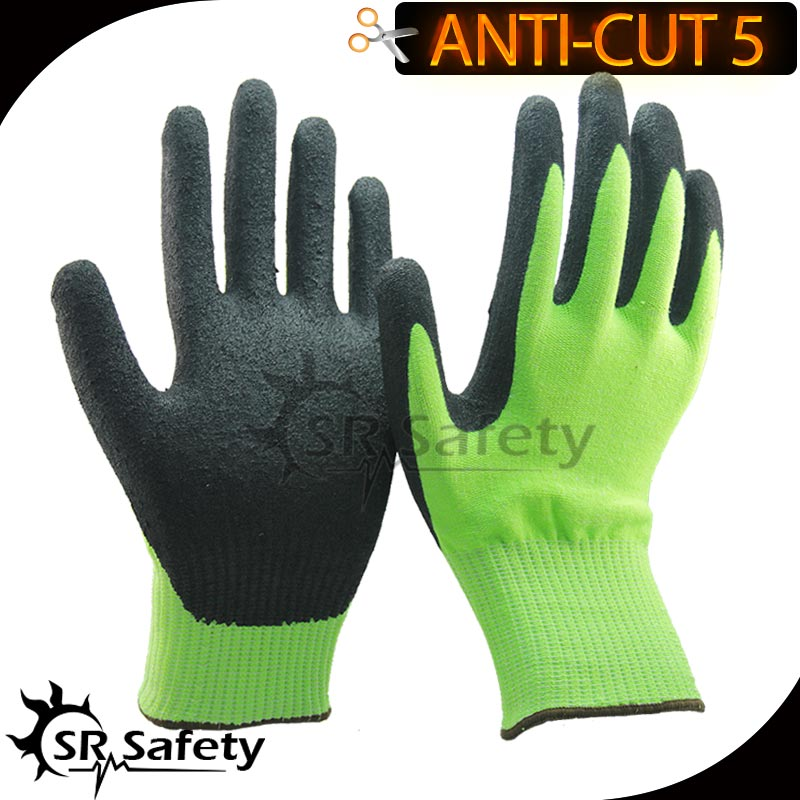 Free Shipping SRSafety 4 Pairs Of CE Standard level 5 cut resistant gloves,sandy finish(China (Mainland))