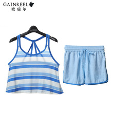 Ms male song Riel casual and comfortable summer fashion striped pajamas couple home service package can