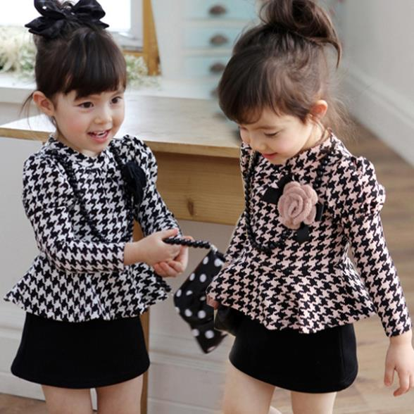 Houndtooth Dresses 2015 Spring summer Baby Girls Plaid A-line Dress Children's Faux 2 Pieces Hot Selling Party Lovely Dress(China (Mainland))
