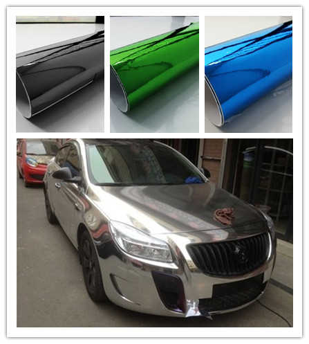 152*50CM Mirror Chrome Electroplate Vinyl Car Wrapping Foil Decal Fiber Car/motorcycle Decoration Membrane Sticker Car Styling(China (Mainland))