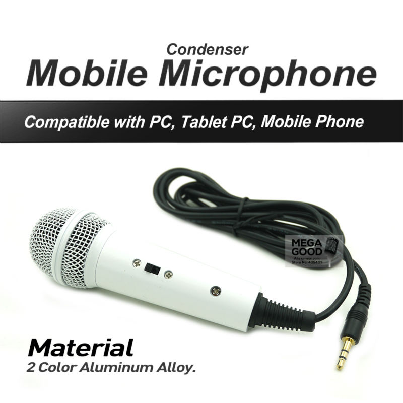 White Mini Handheld Wired Condenser Microphone with 3.5mm Plug for UC QQ YY QT IS Cellphones Tablets Computers Laptops Home KTV(China (Mainland))