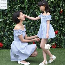 HOT summer Women dress Girl Dress Casual Matching Mother Daughter Dresses Family fitted short word shoulder flounced Vestidos